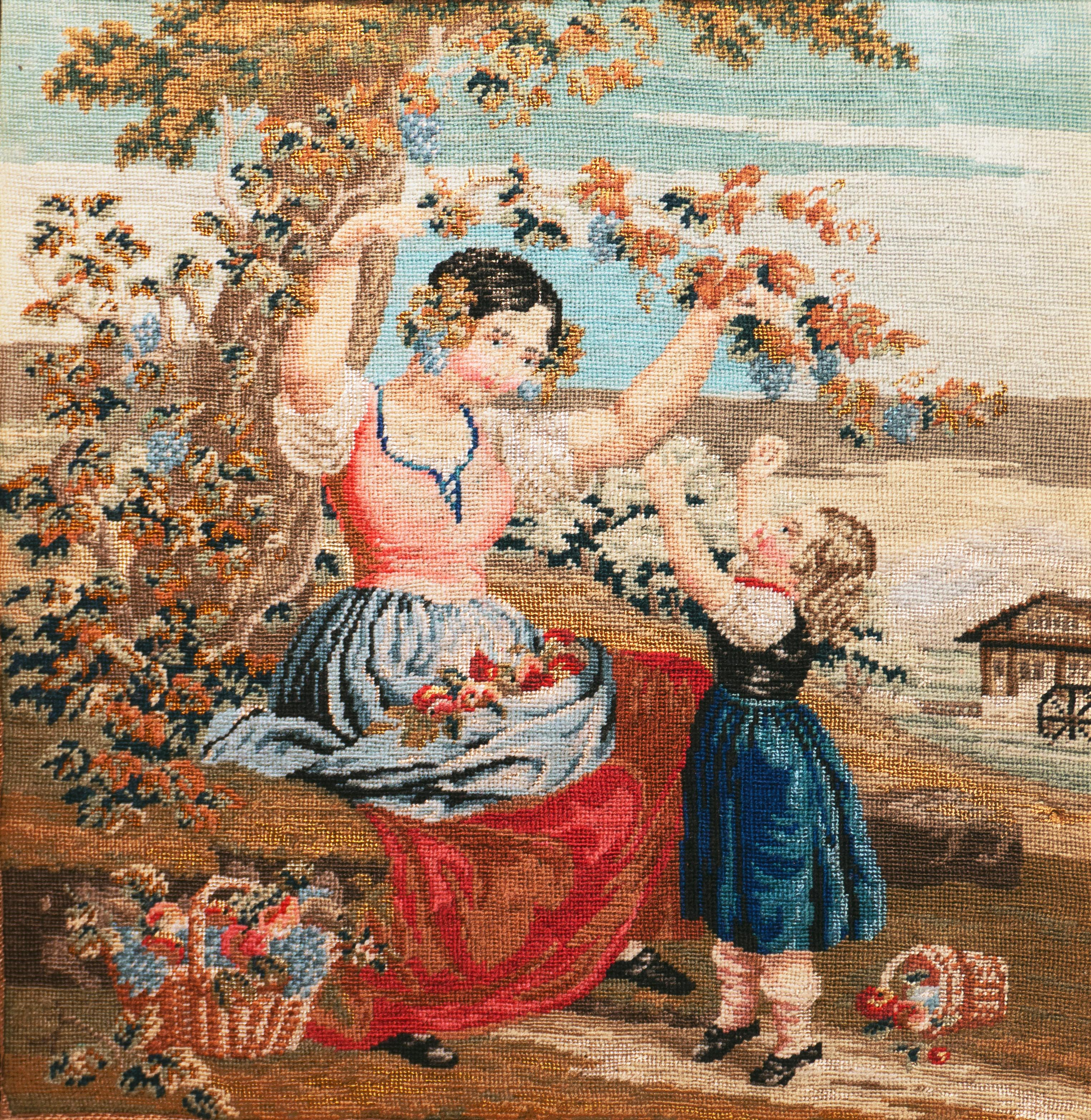 'The Hanging Bough', Figural Petit-point and Needlepoint, Mother and Daughter