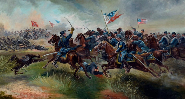 Sackett's Calvary Charge of the 9th New York Volunteers - Painting by Unknown