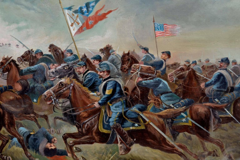 Sackett's Calvary Charge of the 9th New York Volunteers - American Impressionist Painting by Unknown