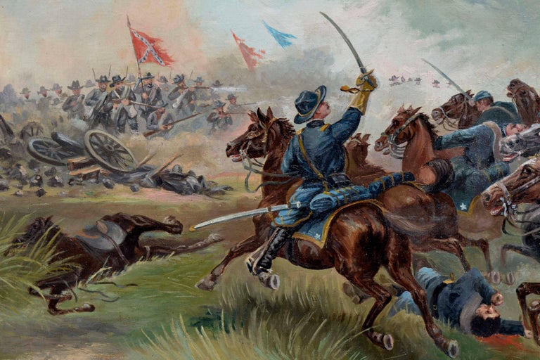 Sackett's Calvary Charge of the 9th New York Volunteers - Brown Figurative Painting by Unknown