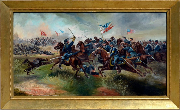 Unknown Figurative Painting - Sackett's Calvary Charge of the 9th New York Volunteers