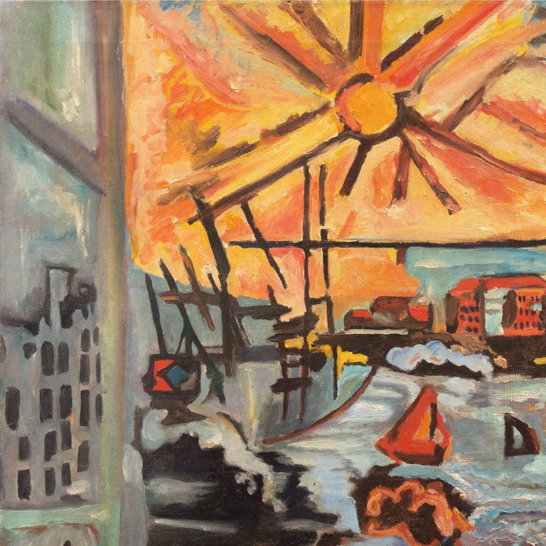 Modernist Industrial Dockside - Painting by American School (20)