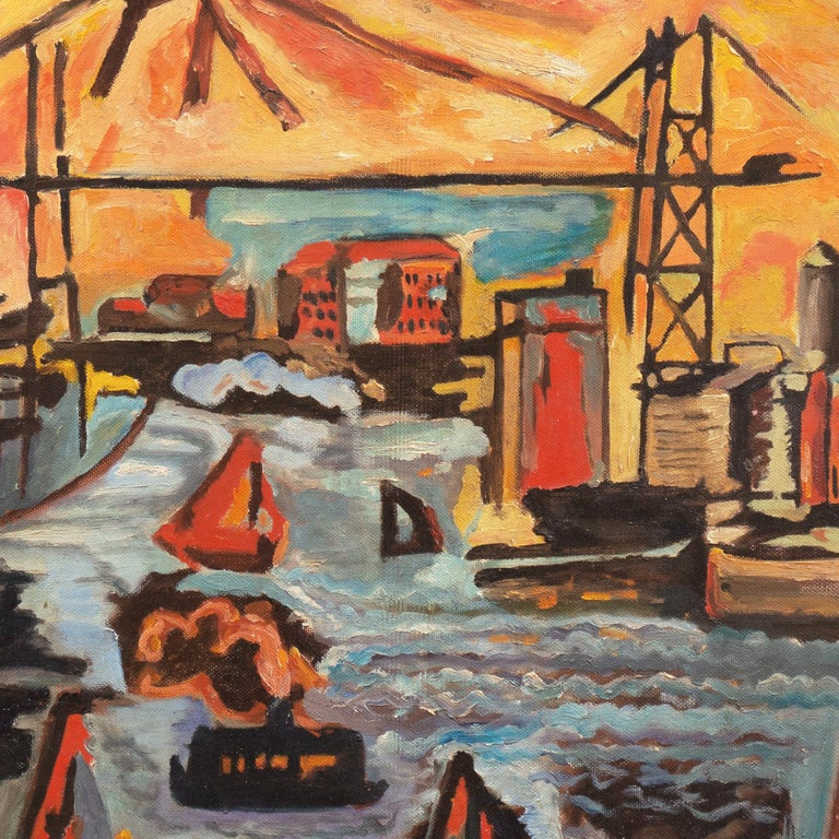 Modernist Industrial Dockside - American Modern Painting by American School (20)