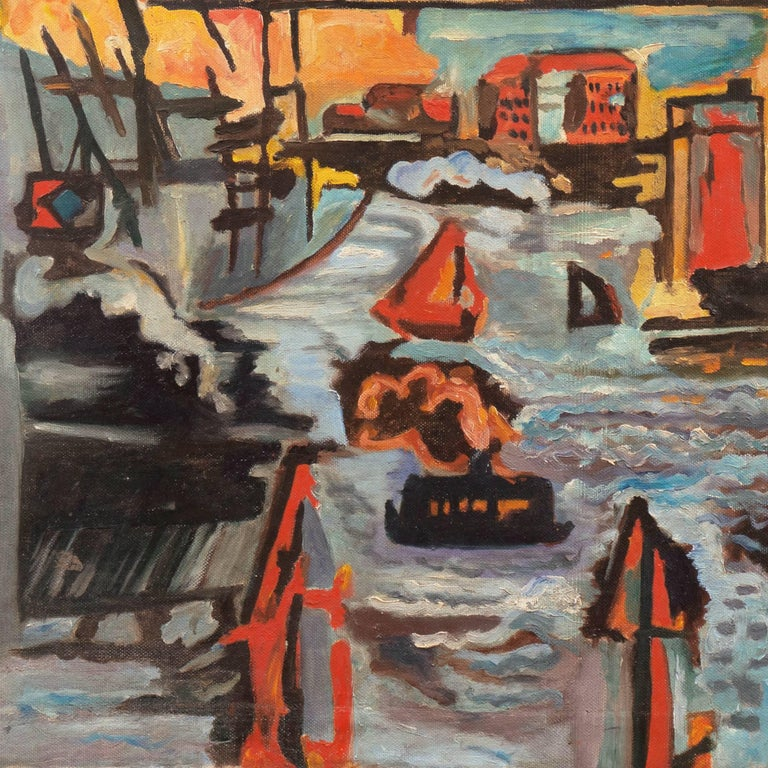 Modernist Industrial Dockside - Brown Landscape Painting by American School (20)