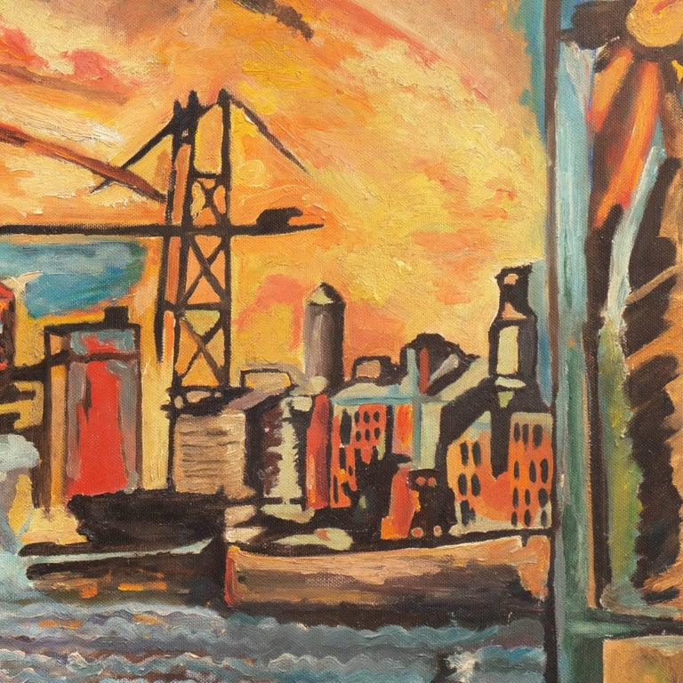 Twentieth-century American School;  Unsigned. Inscribed verso on stretcher bar indistinctly with address.   A dynamic Modernist oil showing a view of a busy estuary dockside with cranes silhouetted against the setting sun.