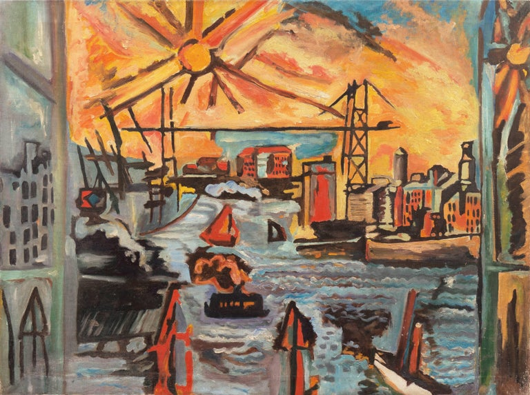 American School (20) Landscape Painting - Modernist Industrial Dockside