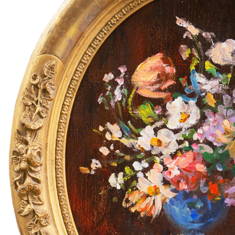 'Spring Flowers in a Blue Planter',  French School Impressionist Still Life Oil - Painting by Unknown