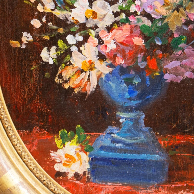 'Spring Flowers in a Blue Planter',  French School Impressionist Still Life Oil - Post-Impressionist Painting by Unknown