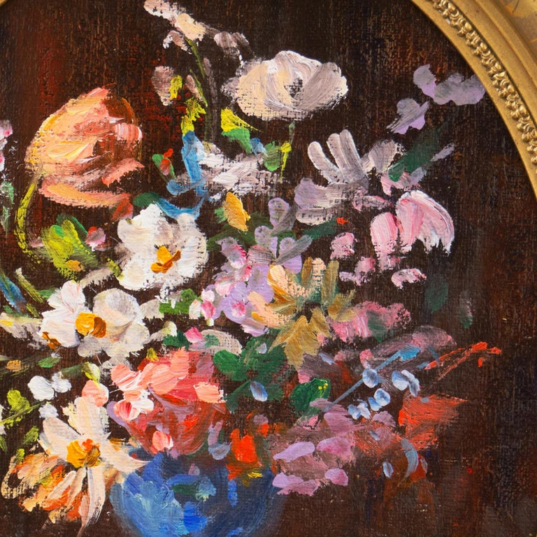 'Spring Flowers in a Blue Planter',  French School Impressionist Still Life Oil - Brown Still-Life Painting by Unknown