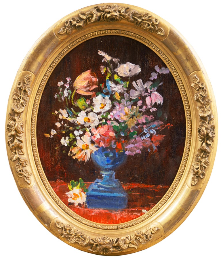 Unknown Still-Life Painting - 'Spring Flowers in a Blue Planter',  French School Impressionist Still Life Oil