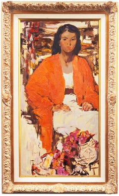 Post-Impressionist Figural, 'Woman in a Coral Jacket with Oleanders'