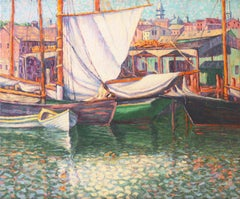 'Fishing Boats in Harbor', American School Oil, Oakland, San Francisco Bay Area