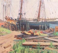 'Schooner in Dry Dock', American Impressionist Oil, Harbor Scene, Sailing Ships