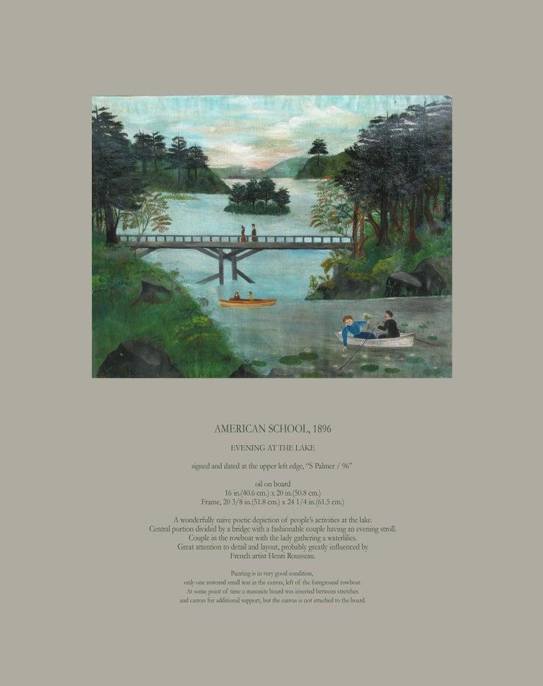 American School Folk Art Painting 19th Century Evening at the Lake   8