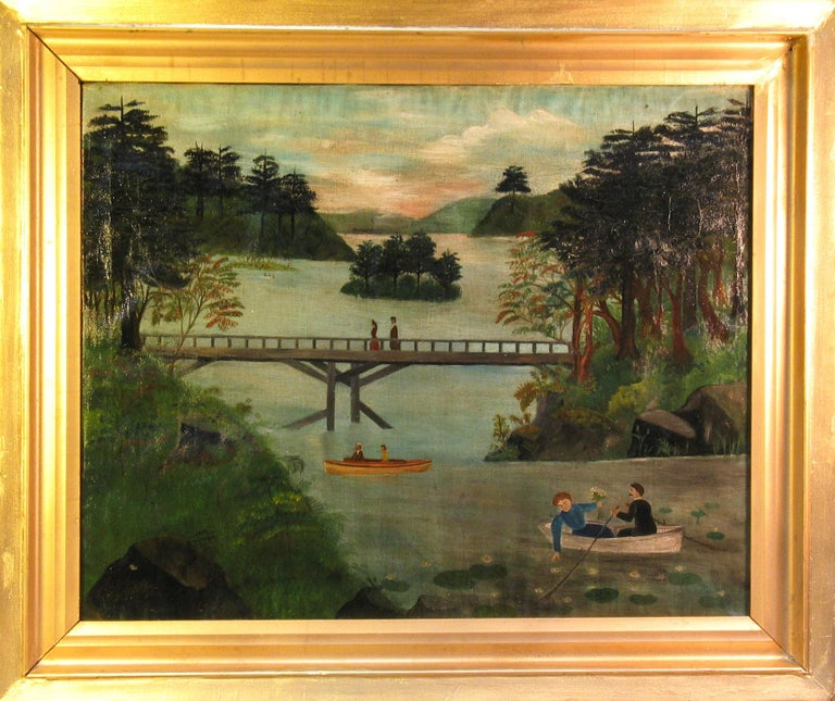 American School Folk Art Painting 19th Century Evening at the Lake   9