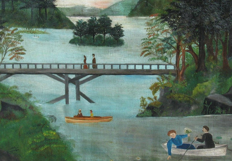 Painted American School Folk Art Painting 19th Century Evening at the Lake
