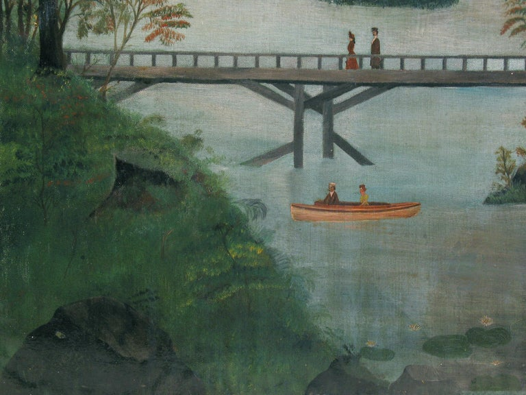 American School Folk Art Painting 19th Century Evening at the Lake   In Good Condition In Ottawa, Ontario
