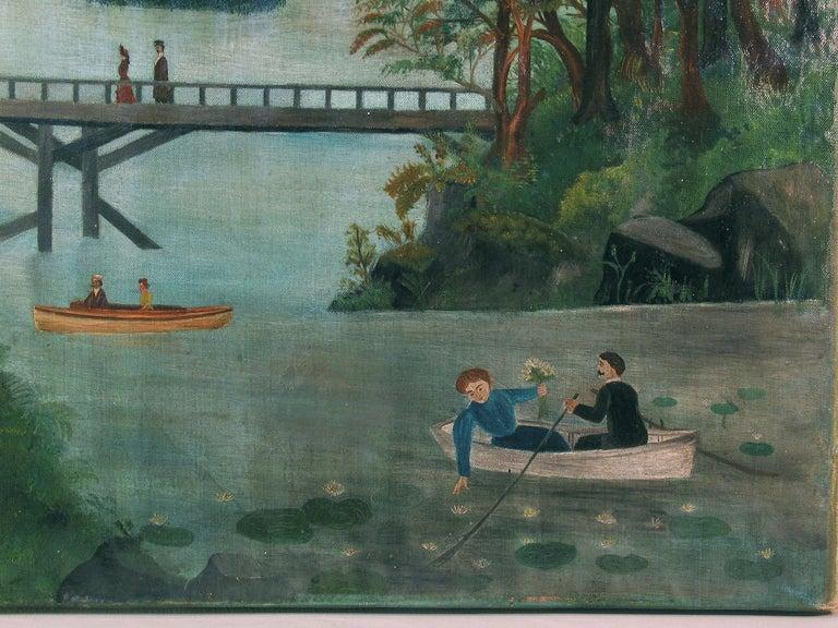 Canvas American School Folk Art Painting 19th Century Evening at the Lake