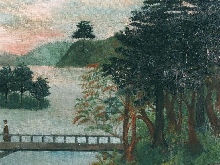 American School Folk Art Painting 19th Century Evening at the Lake   2