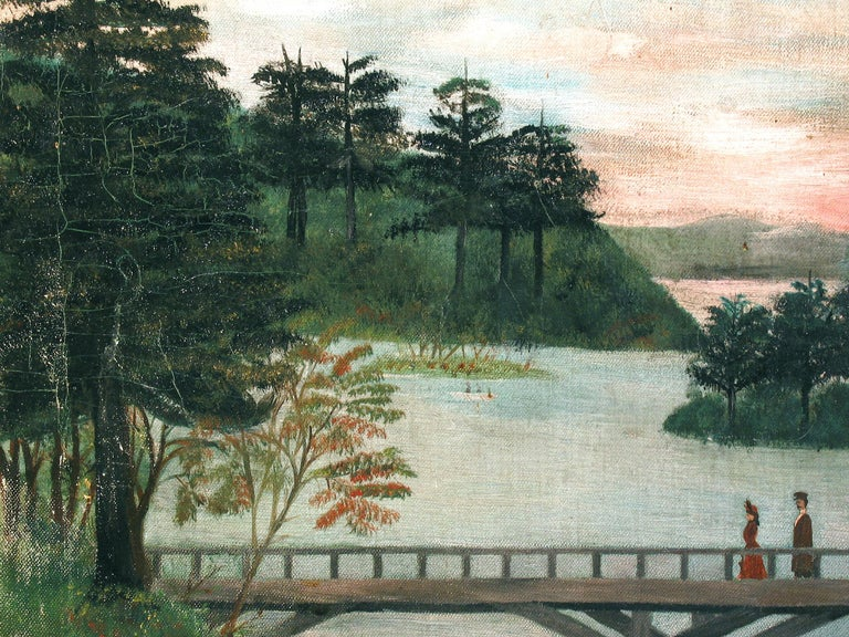American School Folk Art Painting 19th Century Evening at the Lake   3