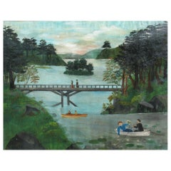 American School Folk Art Painting 19th Century Evening at the Lake