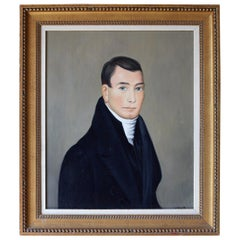 American School Folk Art Portrait of a Gentleman