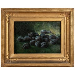 American School, Late 19th Century Oil on Canvas, Still Life with Black Plums