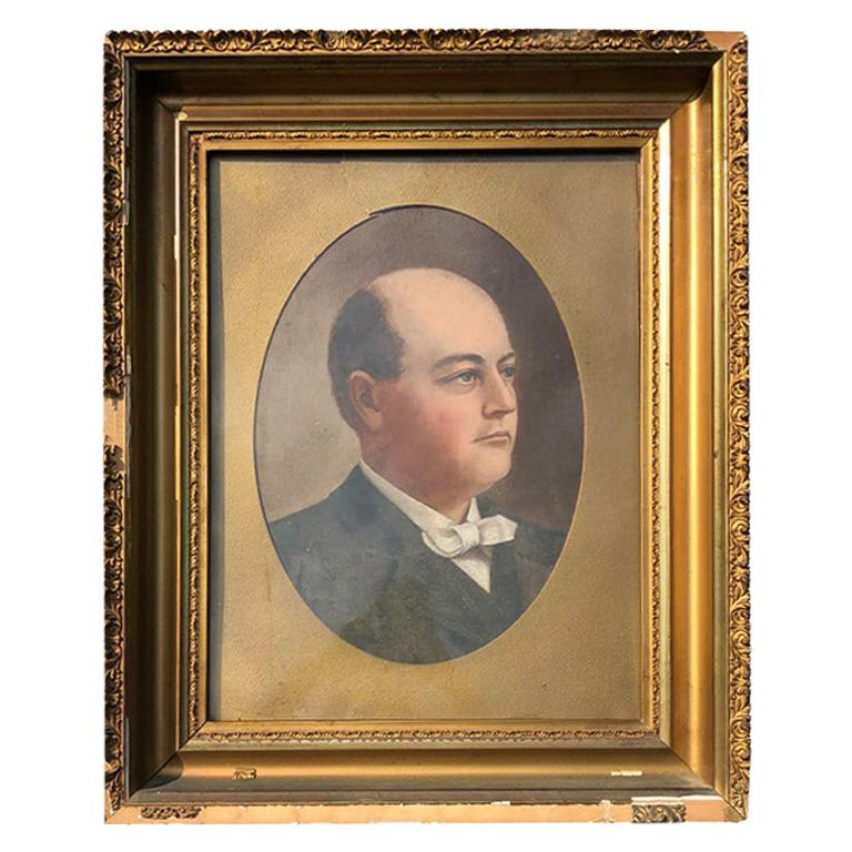 American School Oil Painting Portrait of a Man with Giltwood Frame circa 1800
