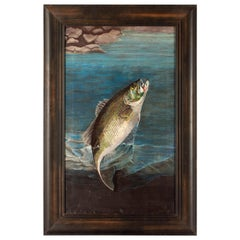 American School Painting of a Striped Bass