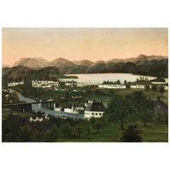 American School, Rural Hilly Landscape w/ Lake and Railway O/C Painting, 19 C