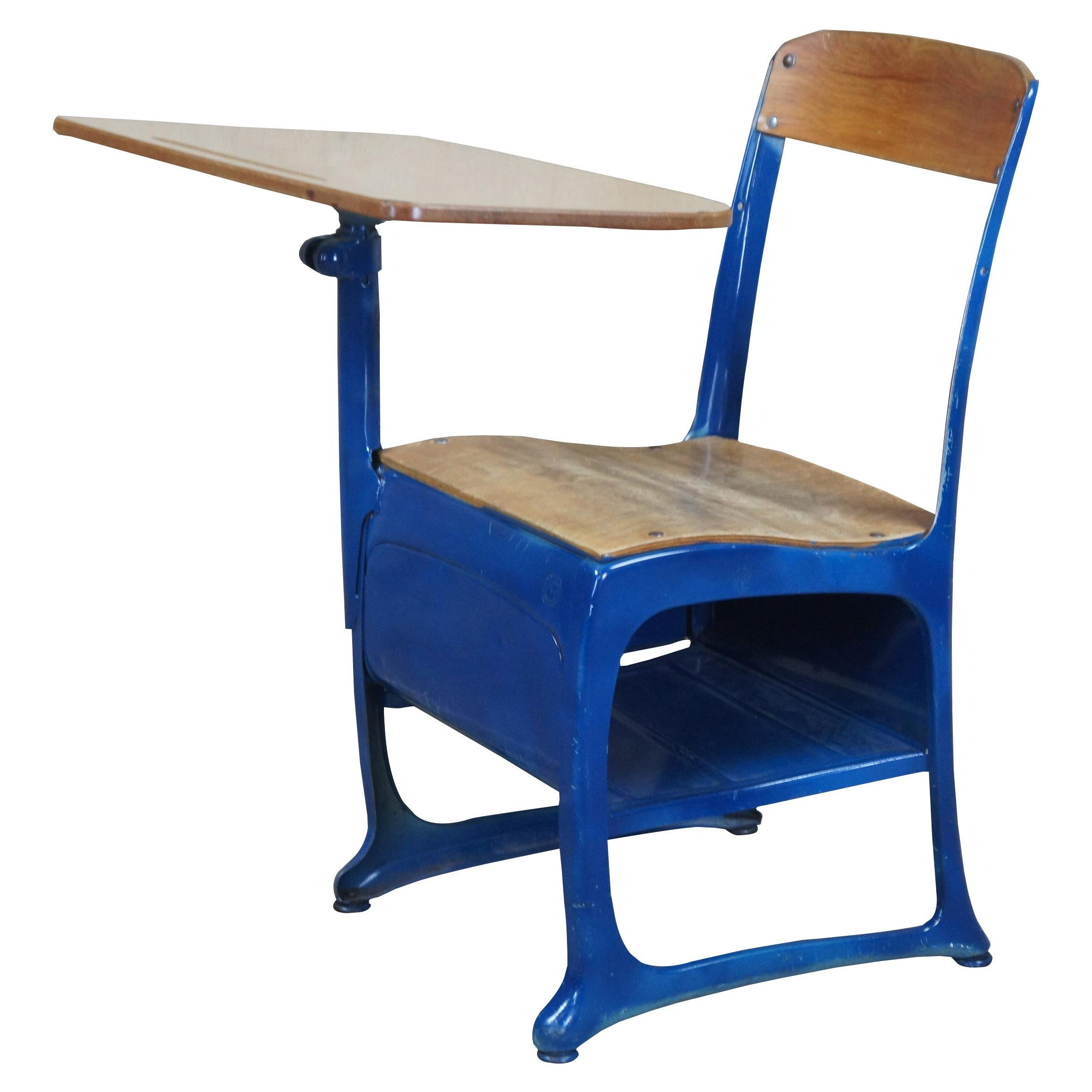American Seating Envoy Students Childs School Desk Blue Mid Century Industrial