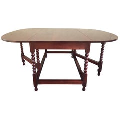 American Sheraton Cherry Acanthus Carved Drop-Leaf Table, circa 1820