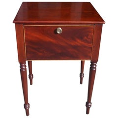 American Sheraton Mahogany Hinged Side Table with Turned Bulbous Legs, C. 1820