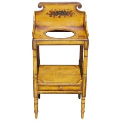 American Sheraton Pine Hand Painted Floral Single Drawer Washstand, circa 1830
