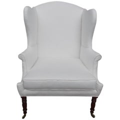American Sheraton Southern Cherry Upholstered Wingback Chair, Circa 1815
