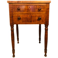 American Sheraton Two-Drawer Stand Night Table in Cherry and Tiger Maple