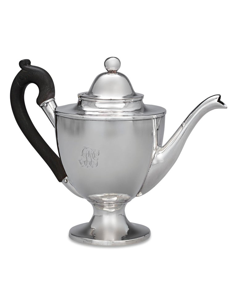 This outstanding antique silver teapot was made by the legendary American patriot and silversmith Paul Revere. This particular pot was made for and bears the monogram of respected Boston businessman Samuel Pickering Gardner (1767-1843) and his wife