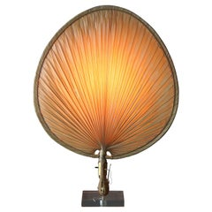 American, Sizable Table Lamp, Paper Shade, Acrylic, Brass, Metal, America, 1970s
