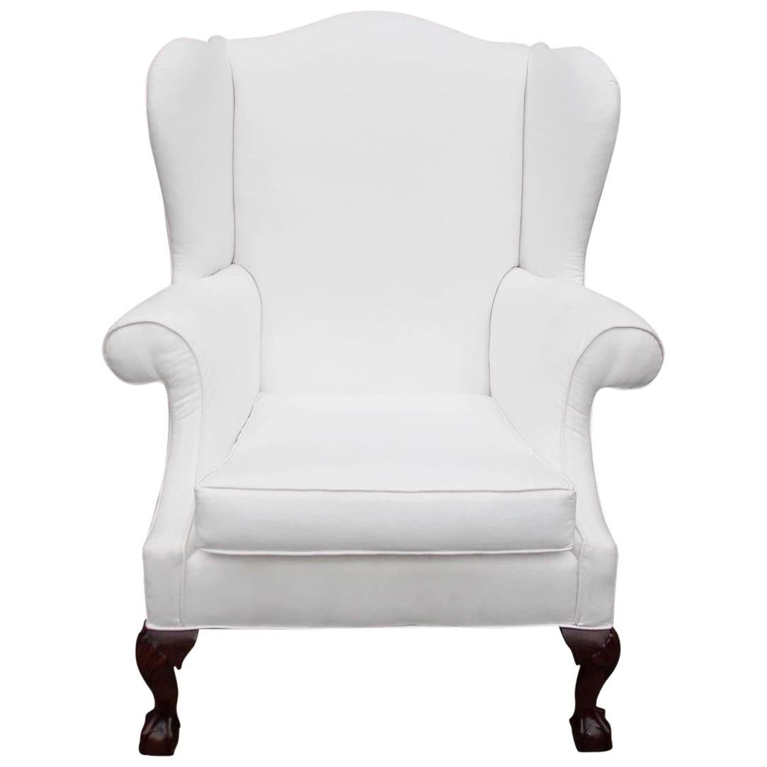 American Southern Chippendale Mahogany Upholstered Wing Back Chair, Circa 1840