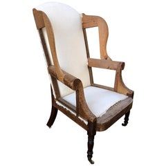 American Southern Wing Back Chair with Mahogany Turned Legs, circa 1810