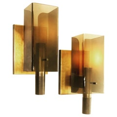 American Space Age Pair of Wall Sconces in Smoke Lucite and Copper
