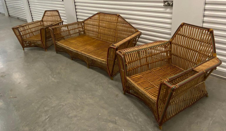 Arts and Crafts American Split Reed 3-Piece Set Art Deco circa 1920s Stick Wicker For Sale