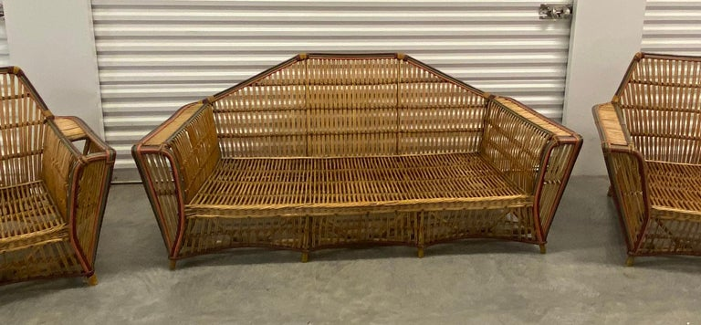 American Split Reed 3-Piece Set Art Deco circa 1920s Stick Wicker In Good Condition For Sale In West Palm Beach, FL