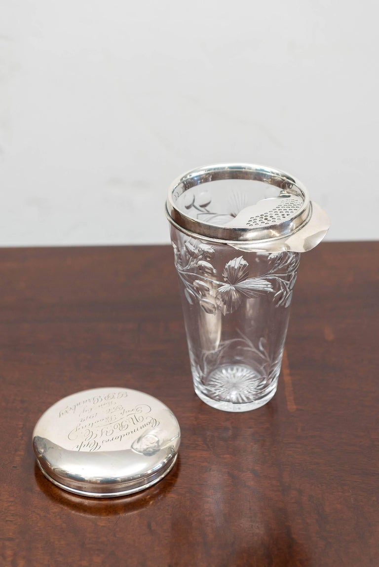 American Sterling, Cut Glass Cocktail Shaker or Trophy, New Rochelle N Y, 1912 In Good Condition For Sale In San Francisco, CA