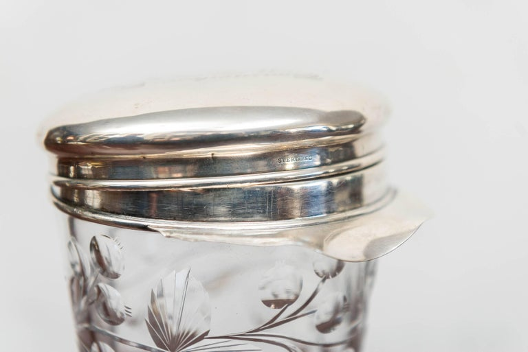 Early 20th Century American Sterling, Cut Glass Cocktail Shaker or Trophy, New Rochelle N Y, 1912 For Sale