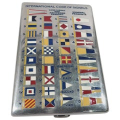 American Sterling Silver and Enamel Nautical Signal Flags Cigarette Case