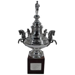 American Sterling Silver Horse Trophy with Jockey Finial