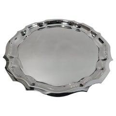 American Sterling Silver Tray with Georgian Piecrust Rim