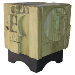 American Studio Craft Mixed-Media Cube Table, 1970s