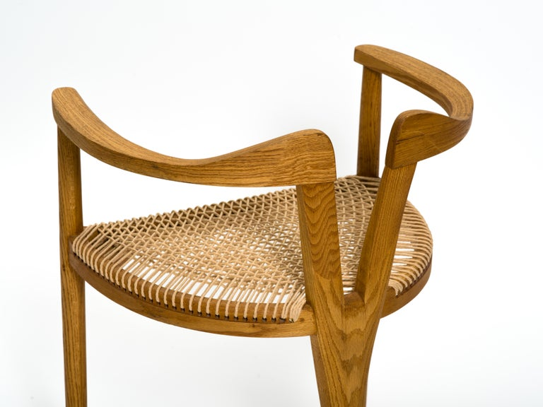 American Studio Craft Tri-Leg Chair in Oak with Woven Seat after Hans Wegner For Sale 4